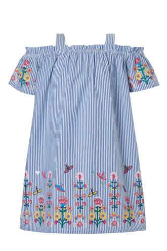Palomino gestreepte open shoulder jurk met bloemen blauw