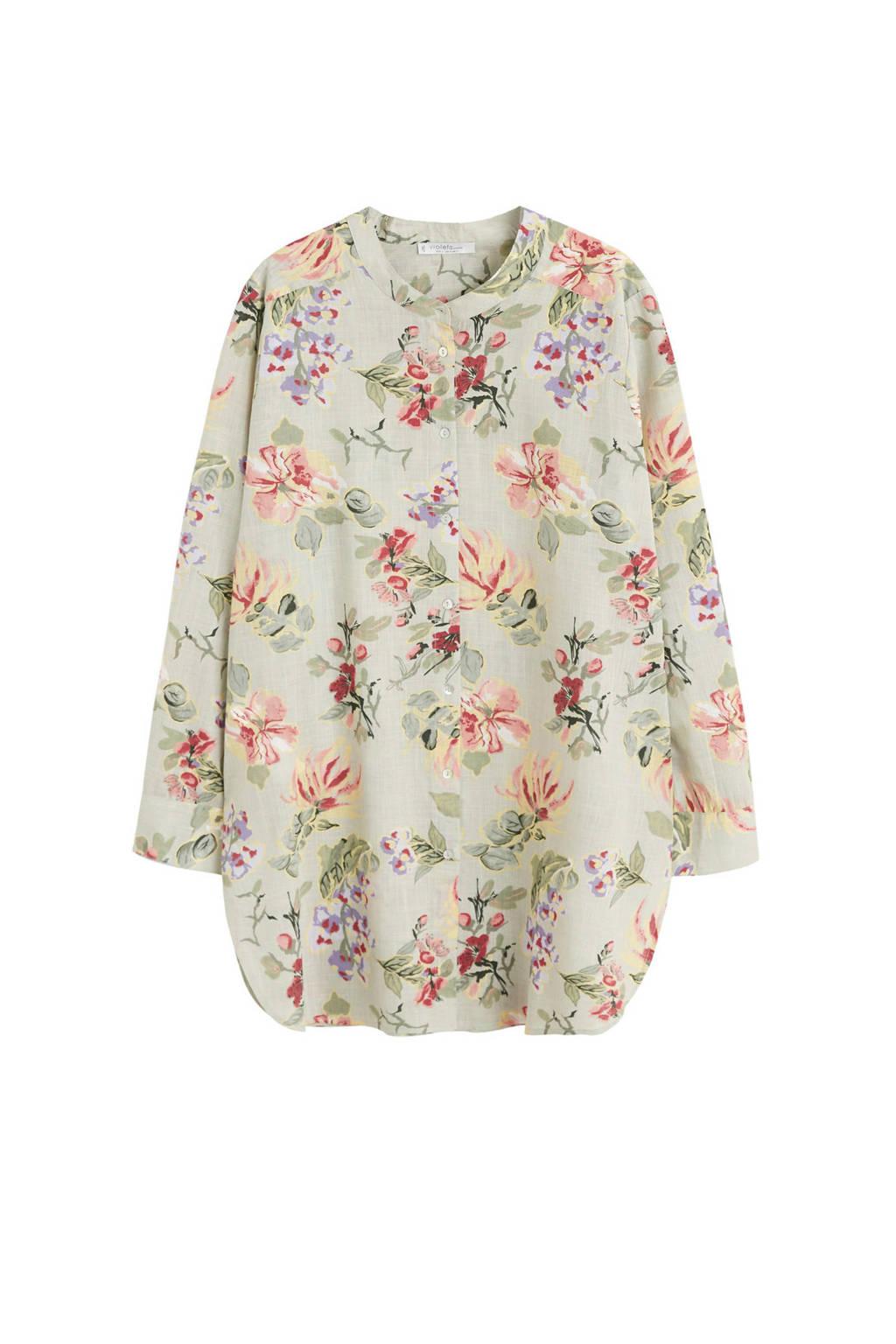Violeta by Mango blouse met bloemenprint, Lichtgroen
