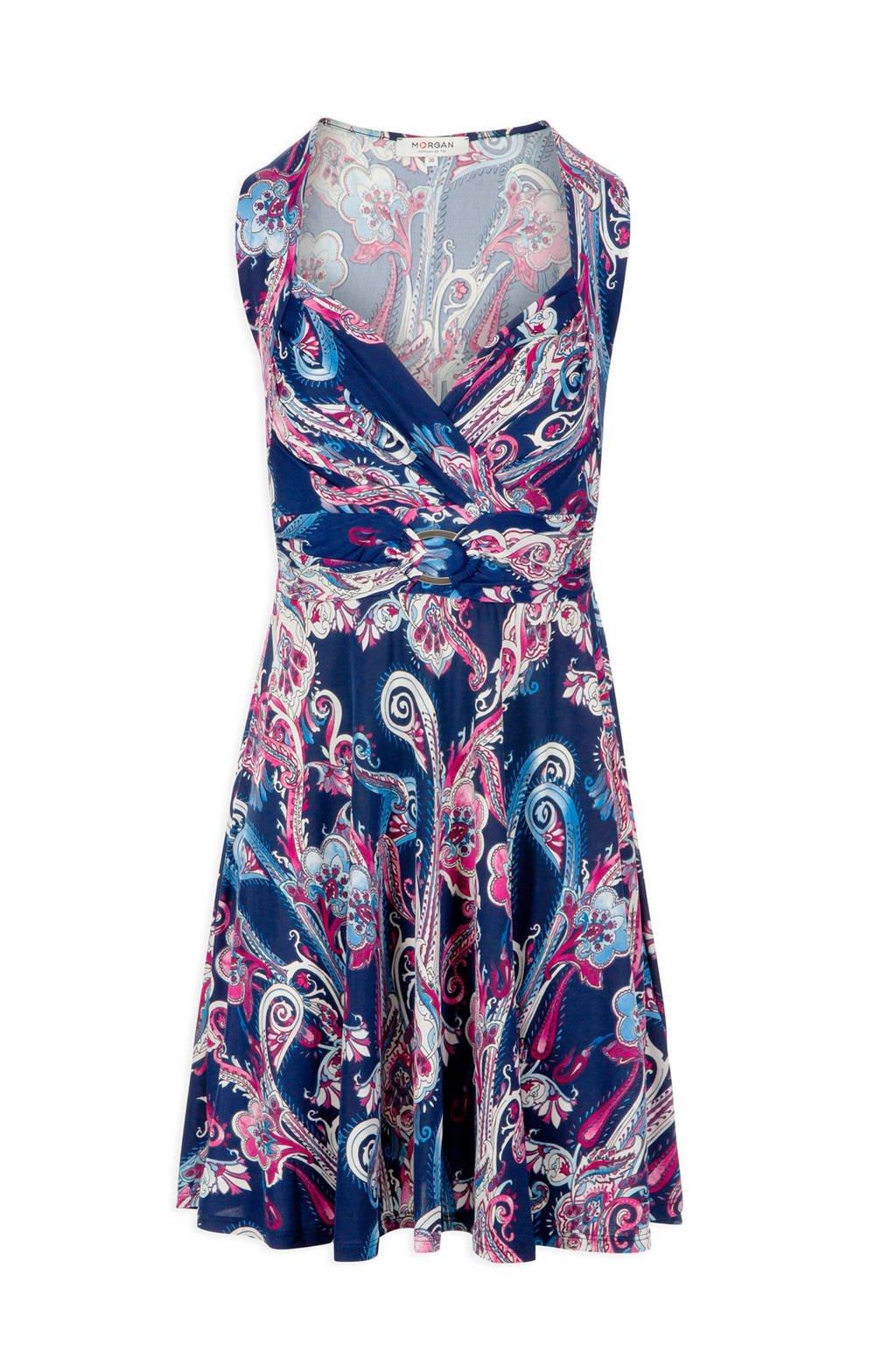 Morgan jurk met overslag en paisley print, Blauw/roze