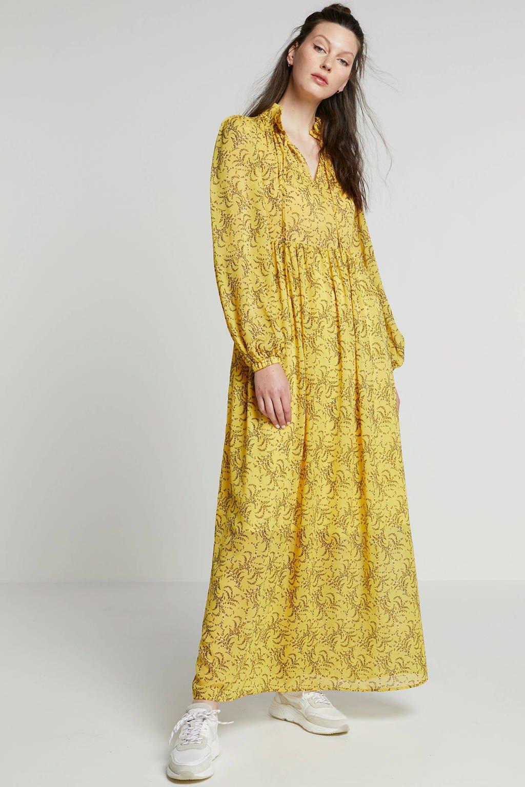 NA-KD maxi jurk met all over print, Geel