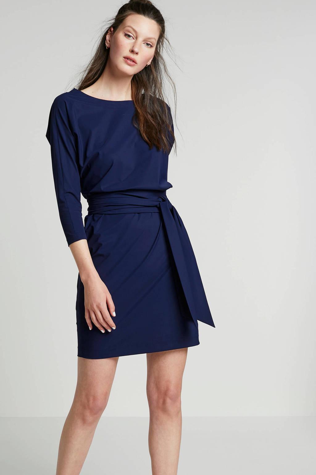LaDress Carla jurk met ceintuur in travel kwaliteit, Donkerblauw