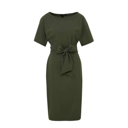 LaDress Aretha jurk in travel kwaliteit kaki kopen