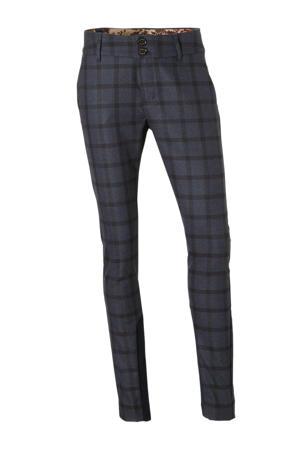 geruite regular fit pantalon donkerblauw/zwart