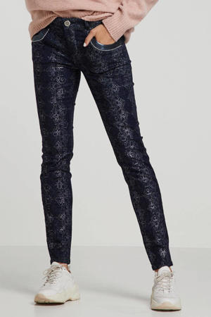 regular fit broek met all over print donkerblauw