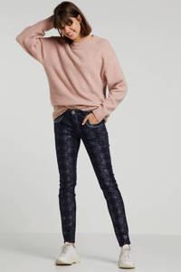 Mos Mosh regular fit broek met all over print donkerblauw, Donkerblauw