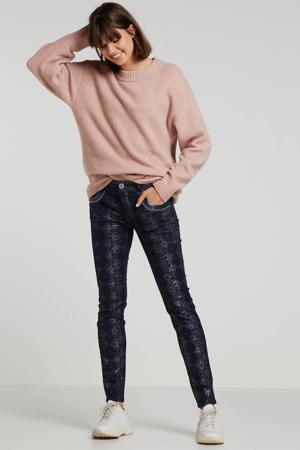 regular fit broek met all over print donkerblauw