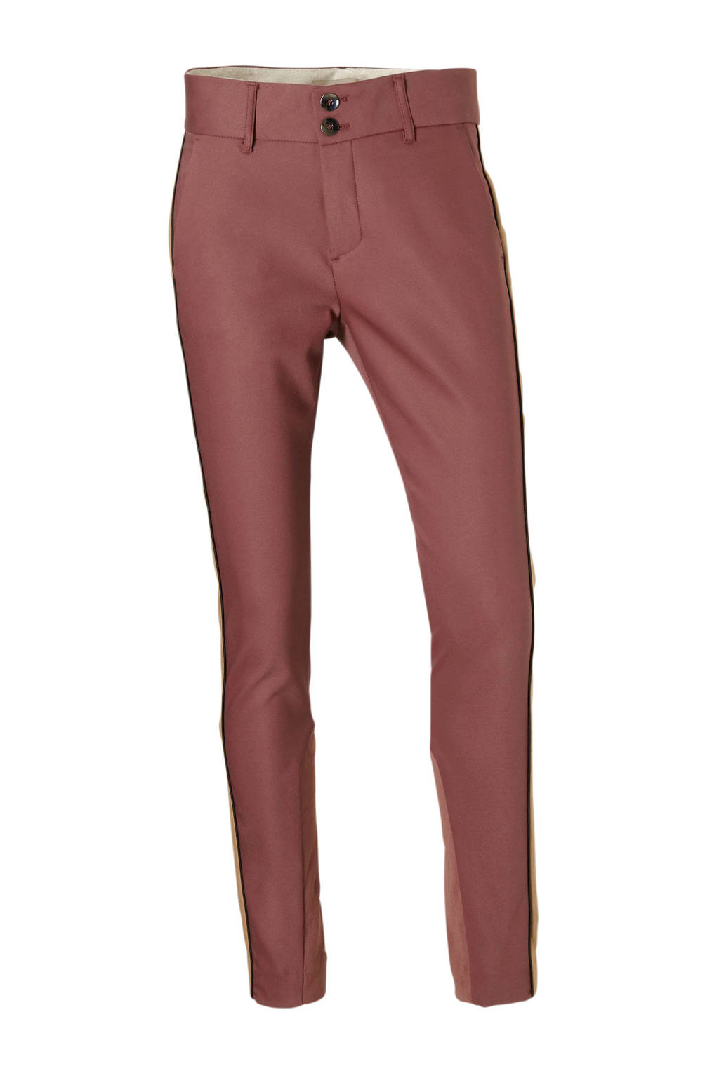 Mos Mosh gestreepte high waist regular fit broek rood, Rood