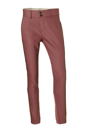 gestreepte high waist regular fit broek rood