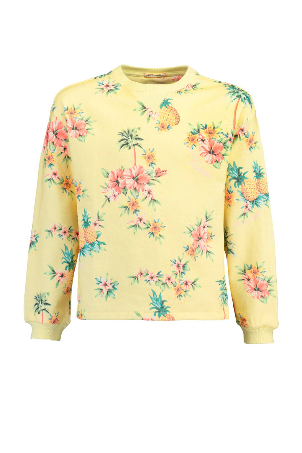 America Today Junior gebloemde sweater Selin geel, Geel