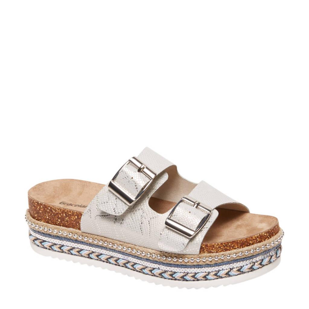 Graceland slippers met plateauzool zilver, Zilver