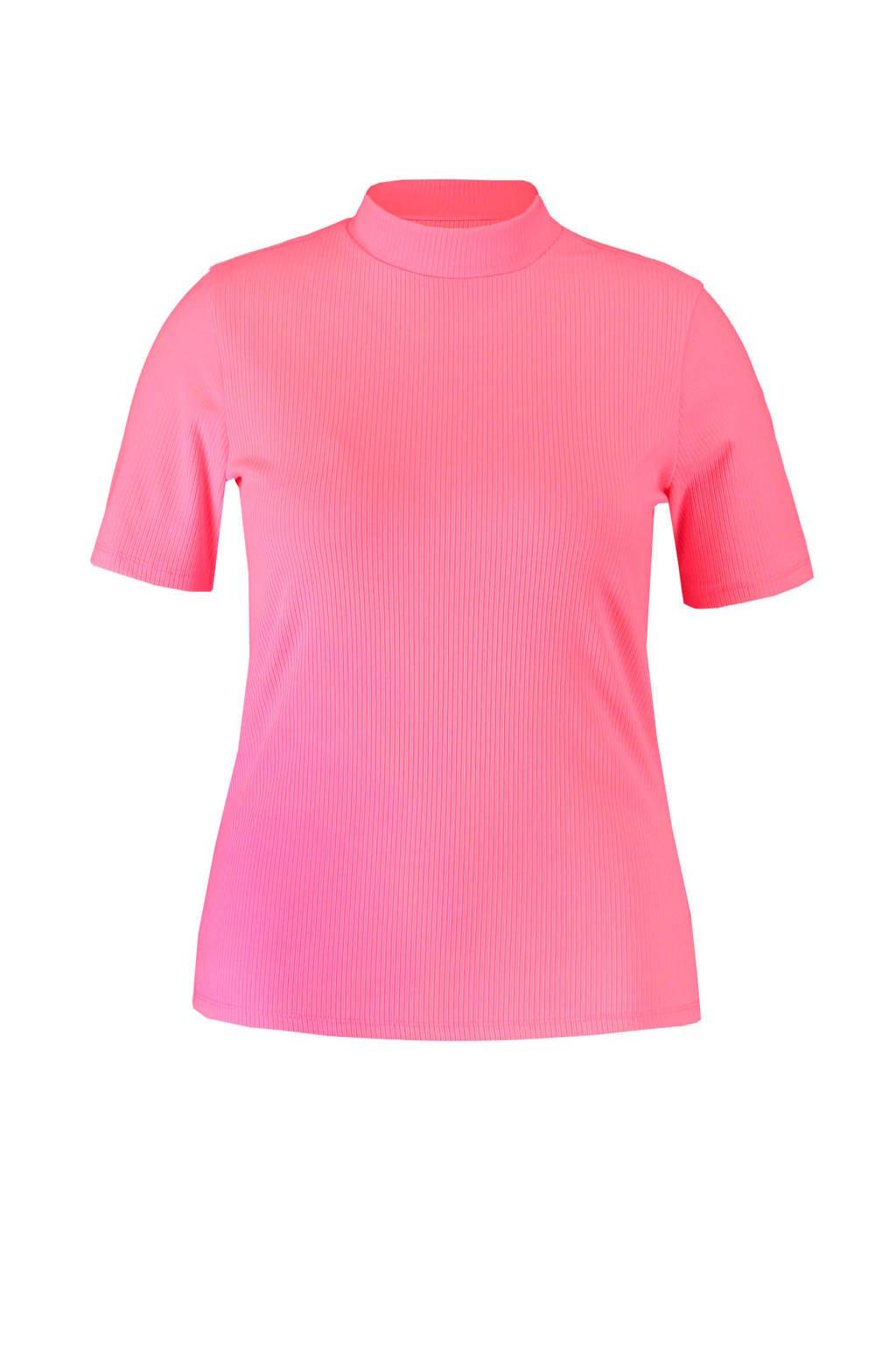 MS Mode ribgebreide top roze, Roze