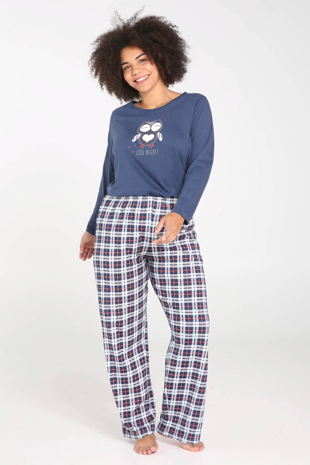 Paprika geruite pyjamabroek donkerblauw, Marineblauw