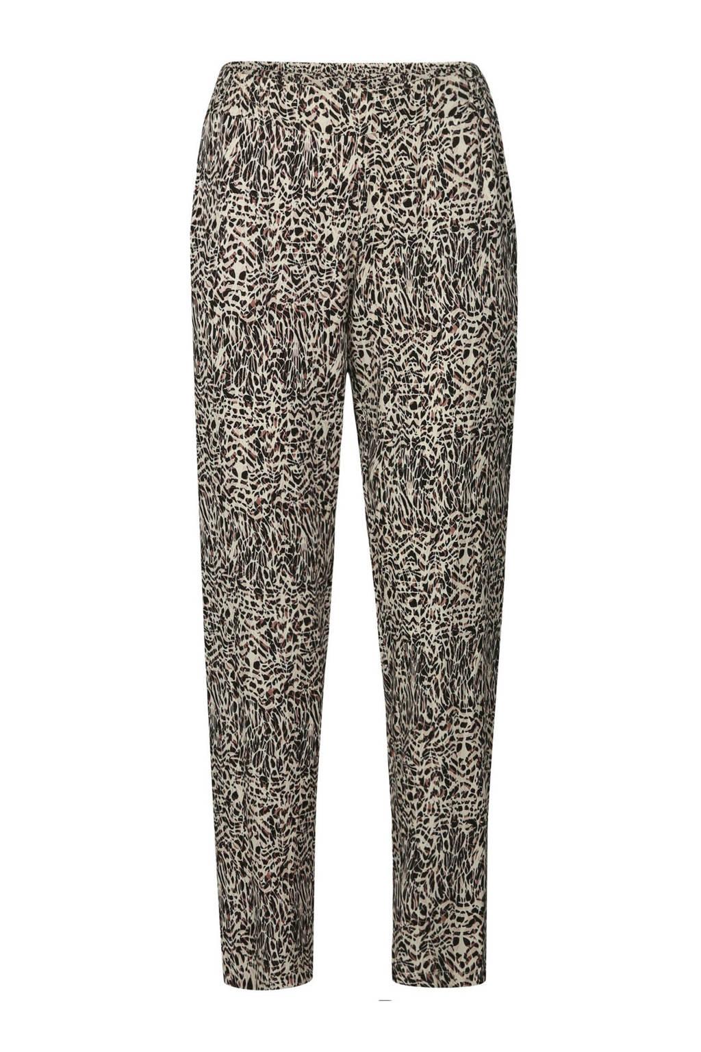 Cassis regular fit broek met all over print beige/zwart, Beige/zwart