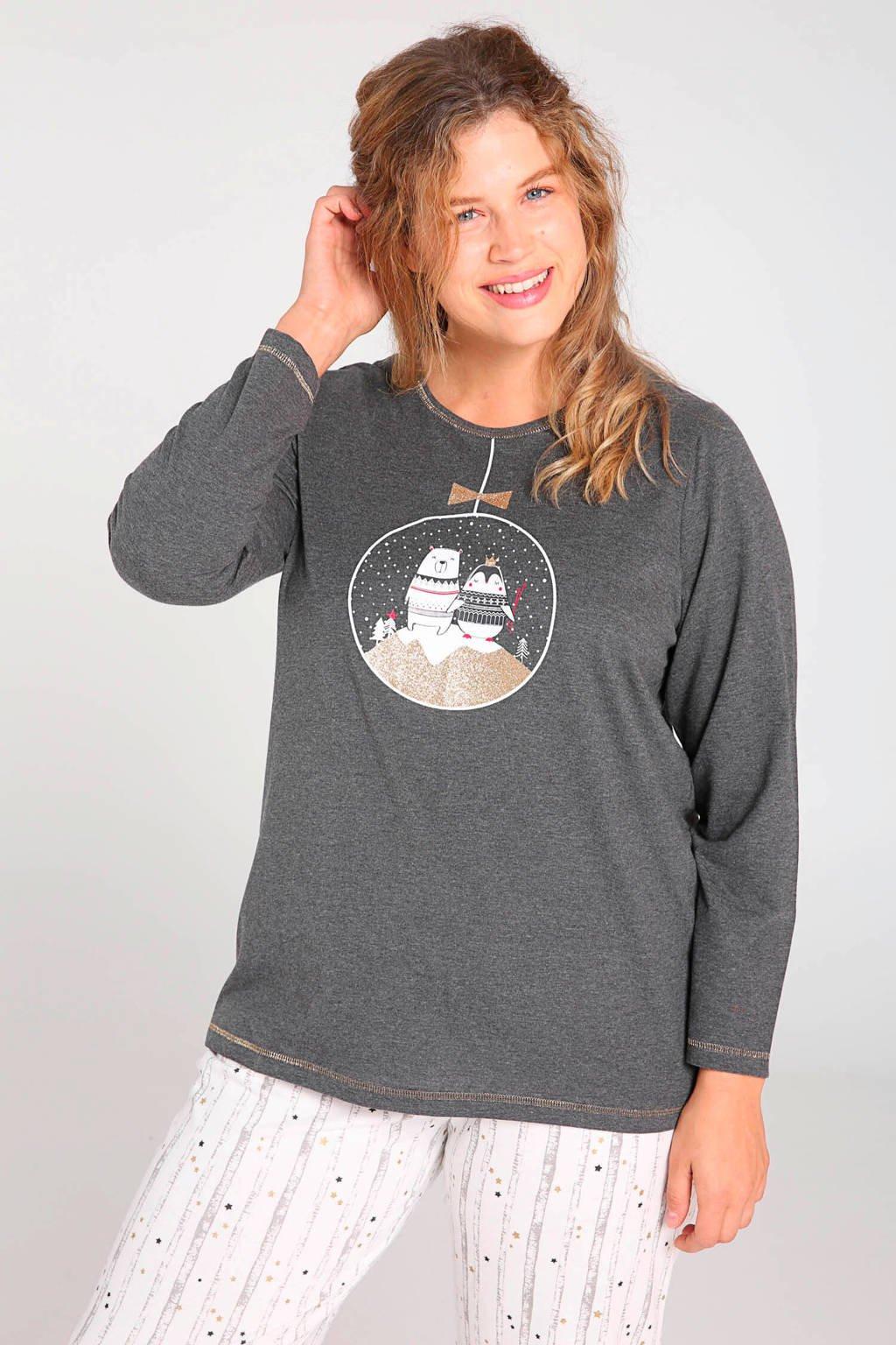 Paprika pyjama donkergrijs/wit, Donkergrijs/wit