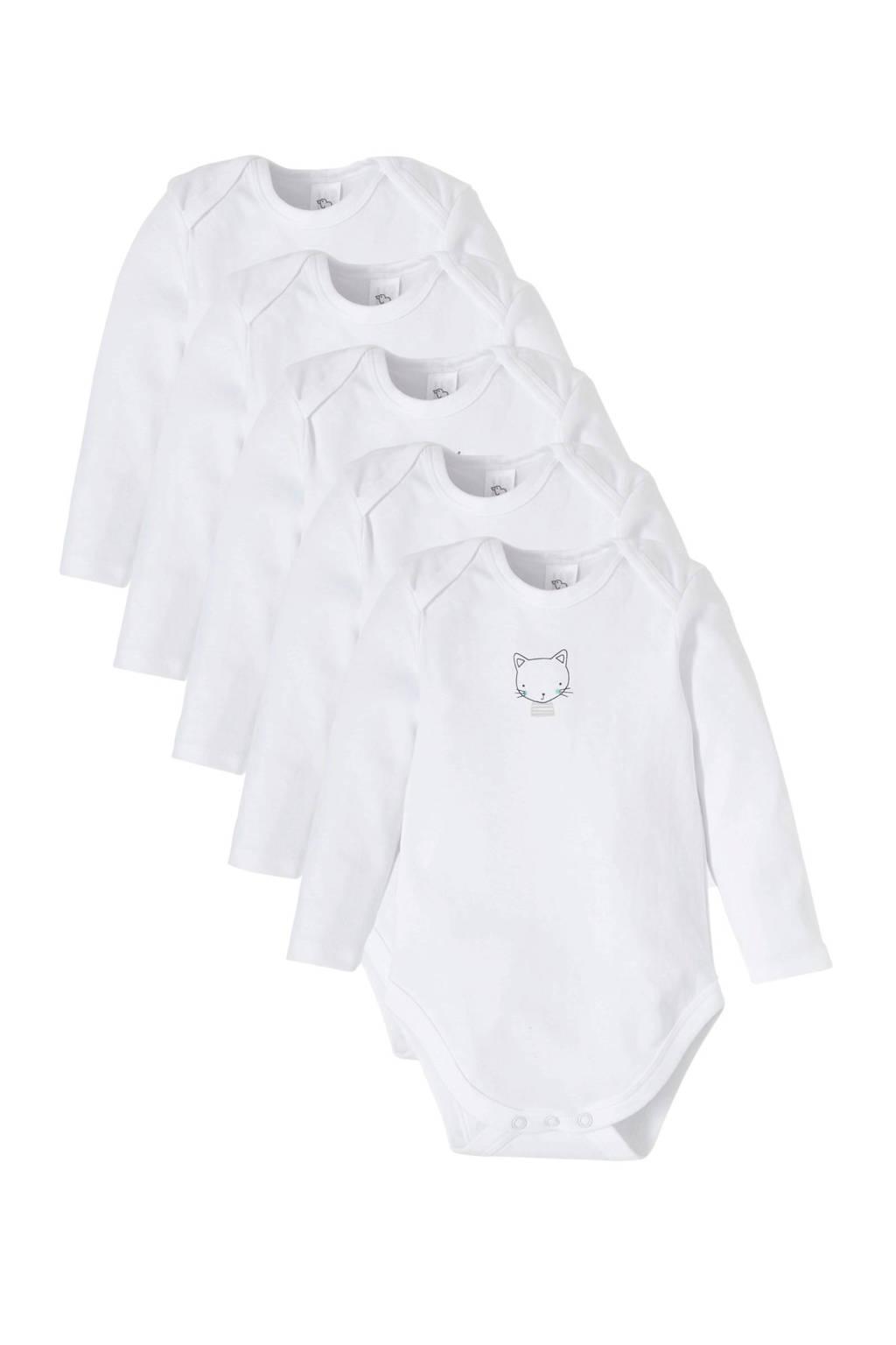 C&A Baby Club romper - set van 5 wit, Wit