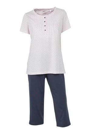 pyjama met all over print wit/donkerblauw
