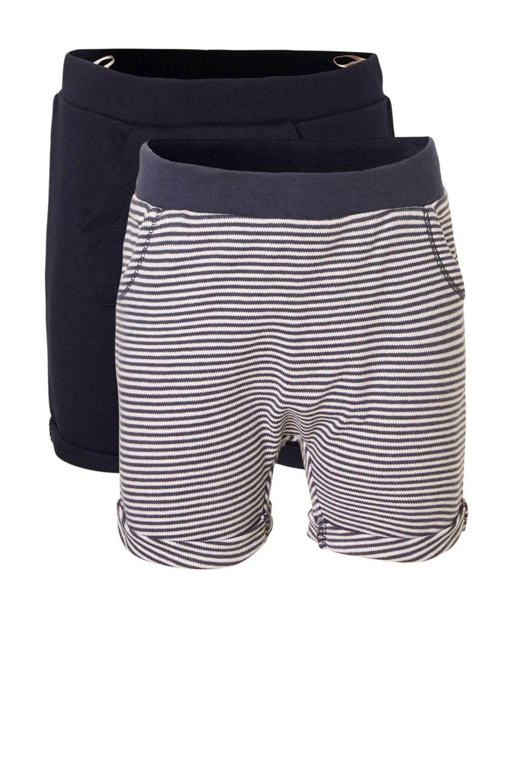 C&A Baby Club gestreepte sweatshort donkerblauw/wit, Donkerblauw/wit