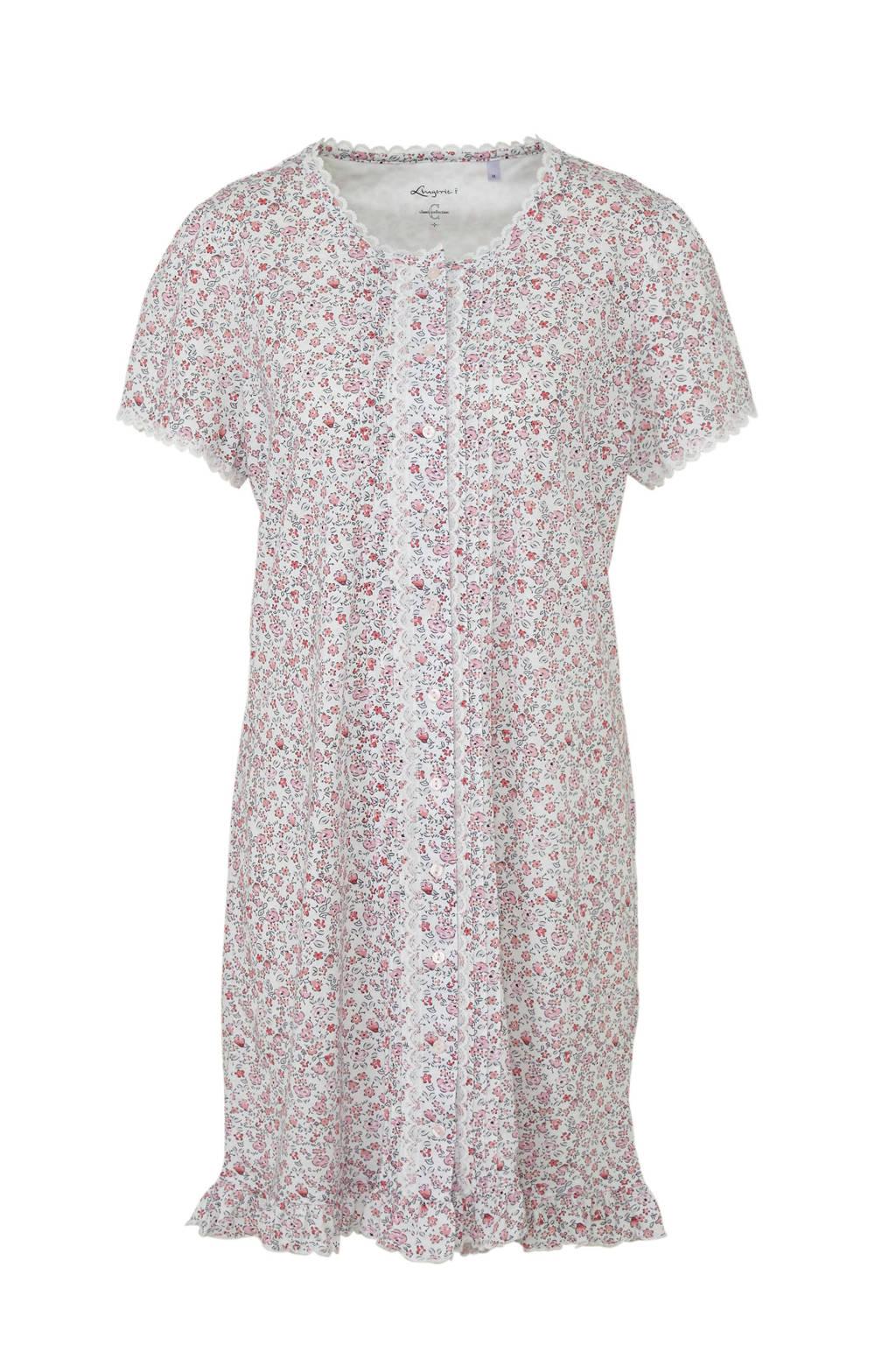 C&A nachthemd met all over bloemenprint roze/wit, Roze/wit