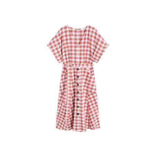Mango jurk met ruiten roze kopen