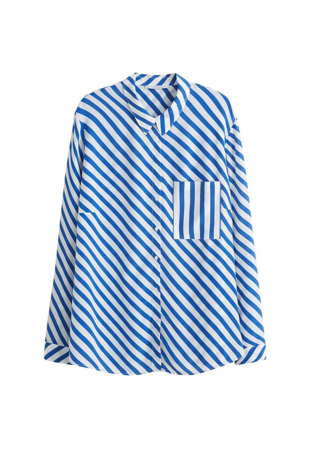 Violeta by Mango gestreepte blouse blauw, Blauw/wit