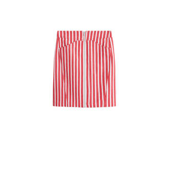 gestreepte rok in denim look met linnen rood