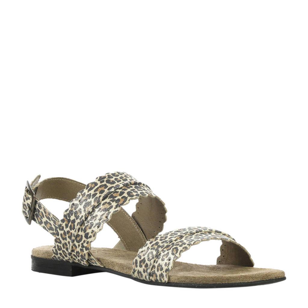 Cashott suède sandalen met panterprint, Bruin/zwart