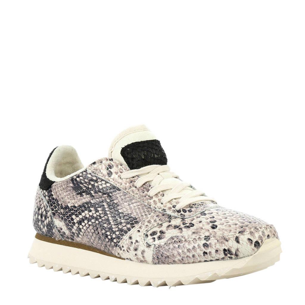 Woden   Ydun leren sneakers met slangenprint grijs, Wit/blauw