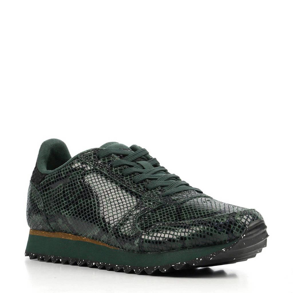 Woden  Ydun Snake  leren sneakers met slangenprint donkergroen, Donkergroen