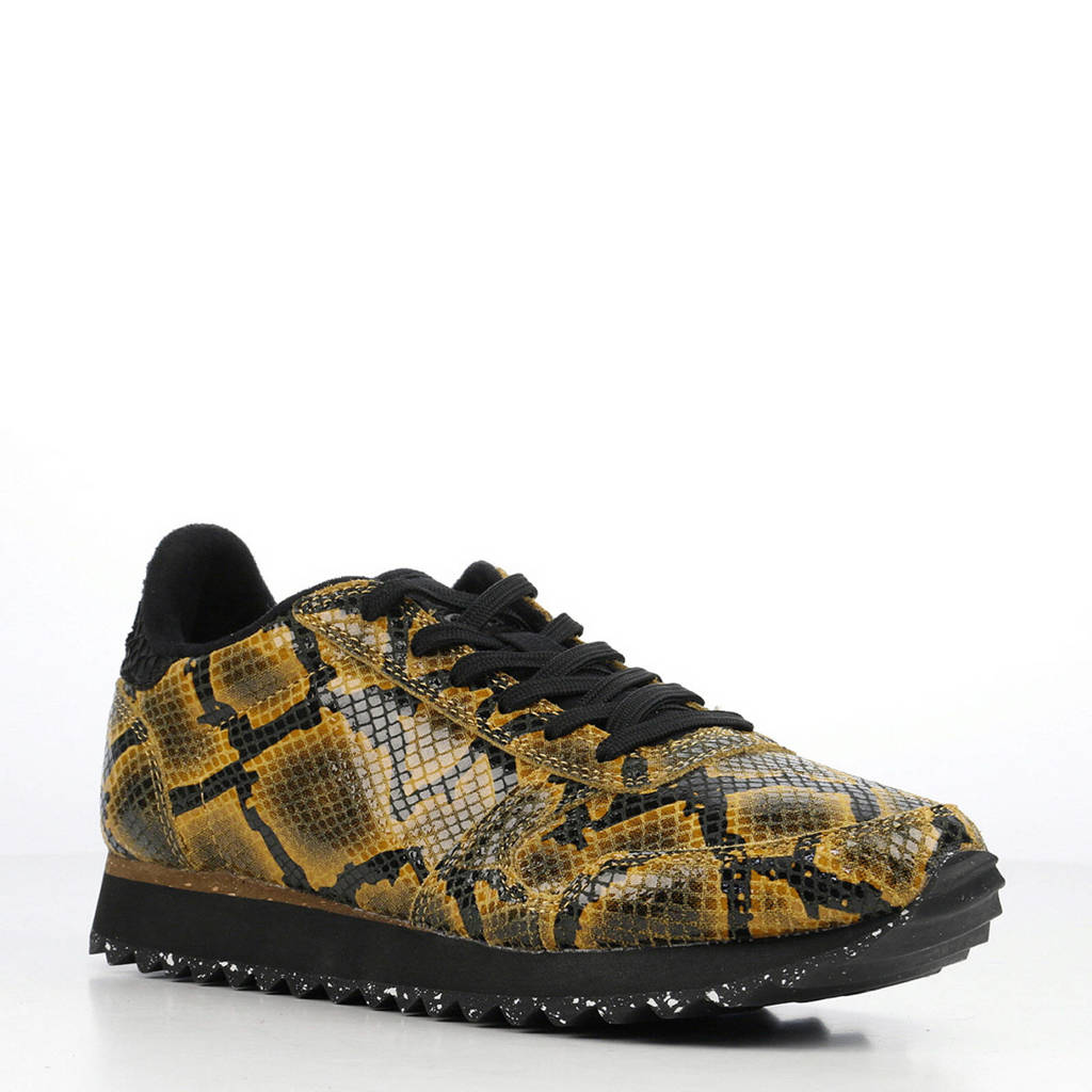 Woden Ydun Snake  leren sneakers met slangenprint okergeel/zwart, Okergee