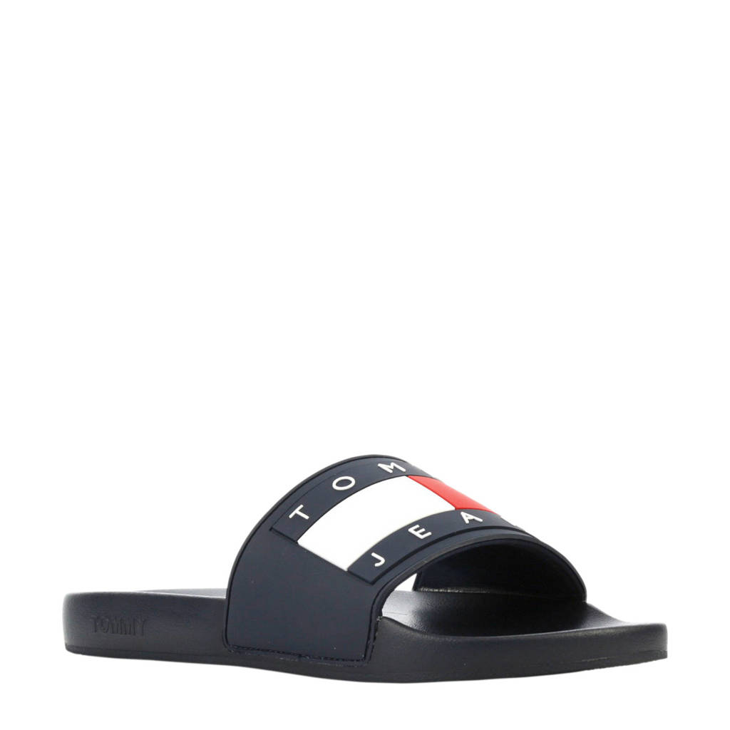 Tommy Jeans Flag Pool Slide badslippers blauw, Blauw/rood/wit