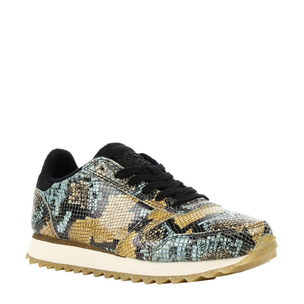 Woden  Ydun leren sneakers met slangenprint geel, Geel/blauw
