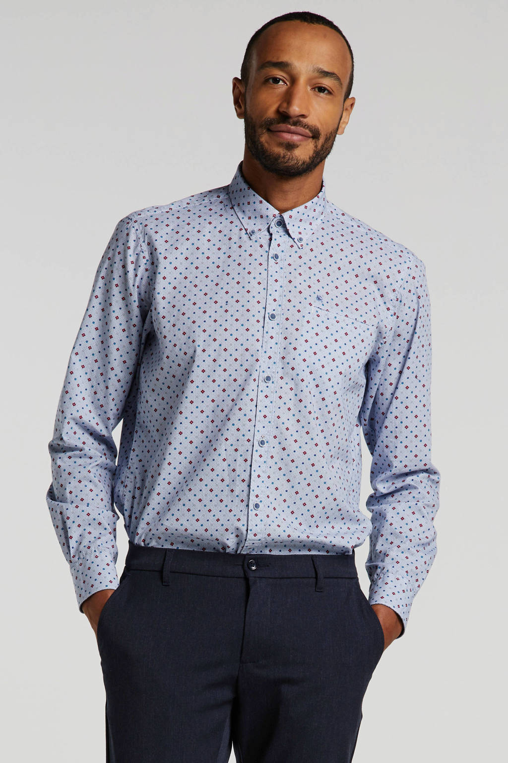 LERROS regular fit overhemd met all over print lichtblauw/rood, Lichtblauw/rood