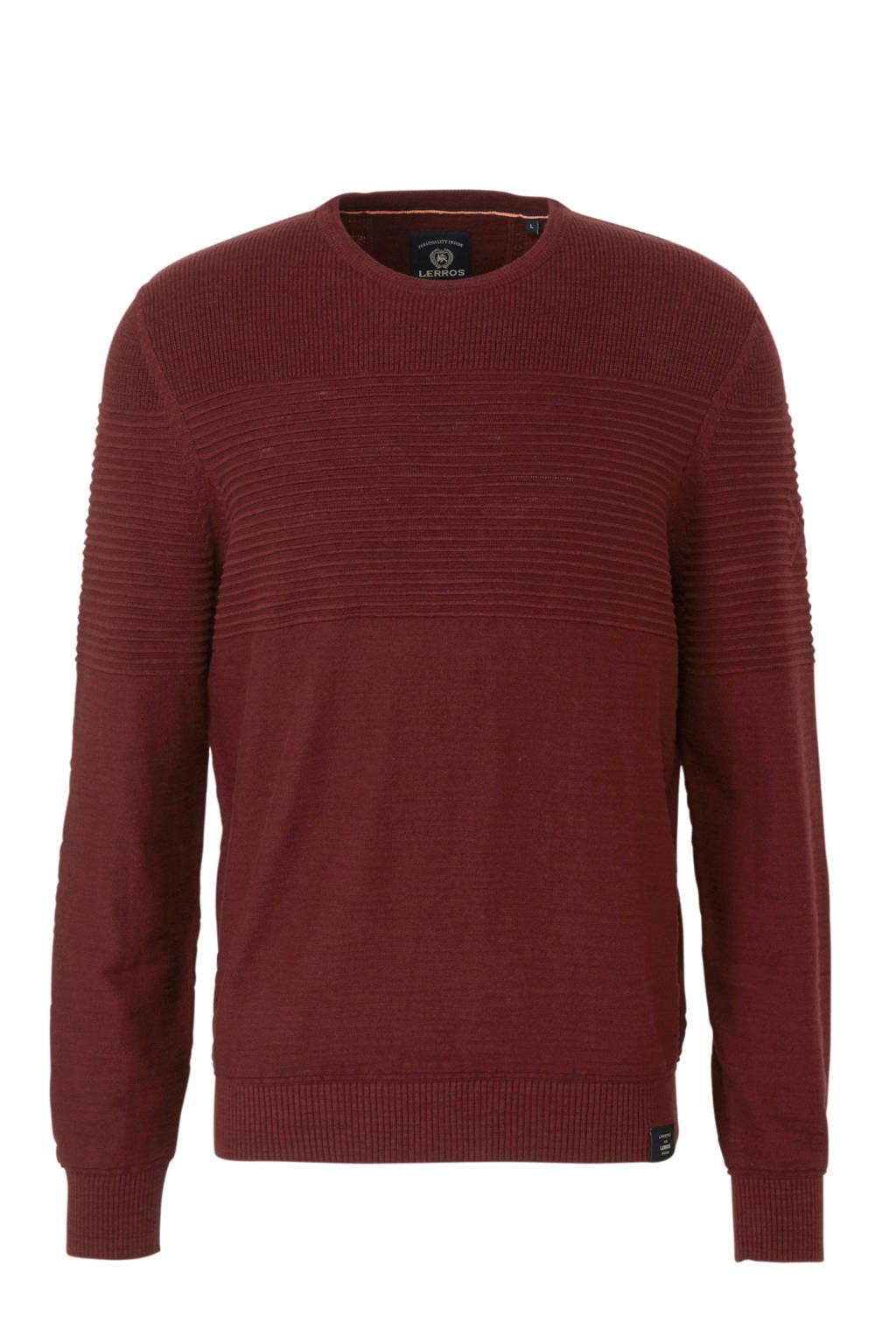 LERROS trui met textuur donkerrood, Donkerrood