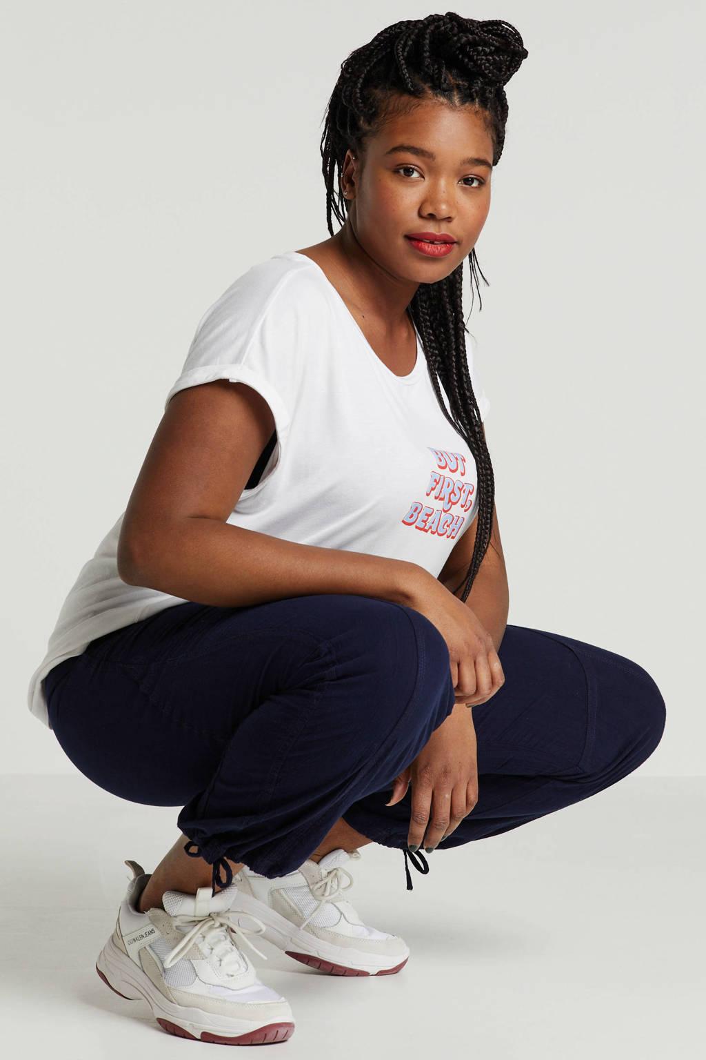 ONLY carmakoma T-shirt met tekstopdruk wit, Wit