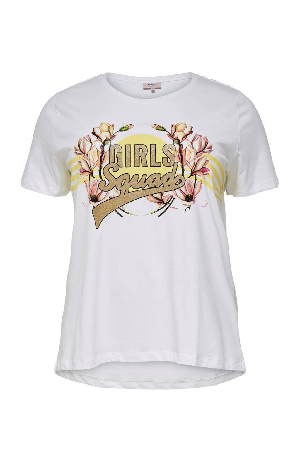 ONLY carmakoma T-shirt met printopdruk wit, Wit