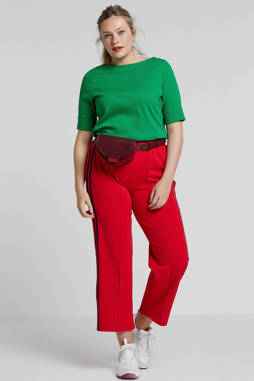 ONLY carmakoma loose fit broek rood, Rood/zwart