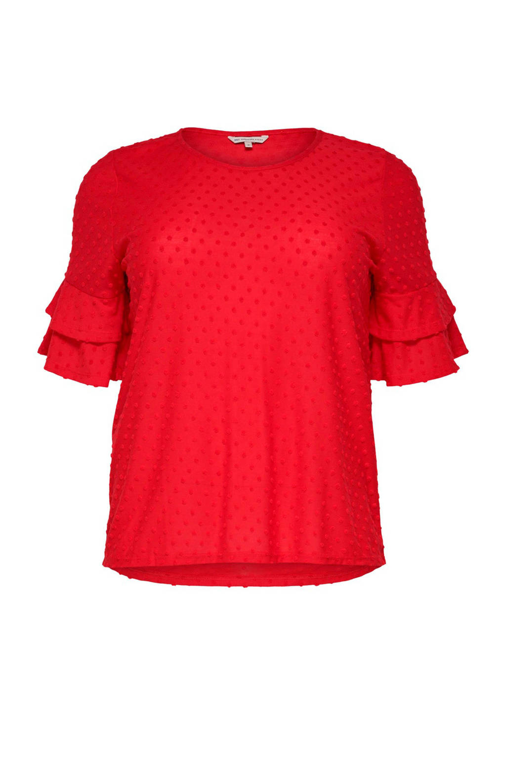 ONLY carmakoma top met volant rood, Rood