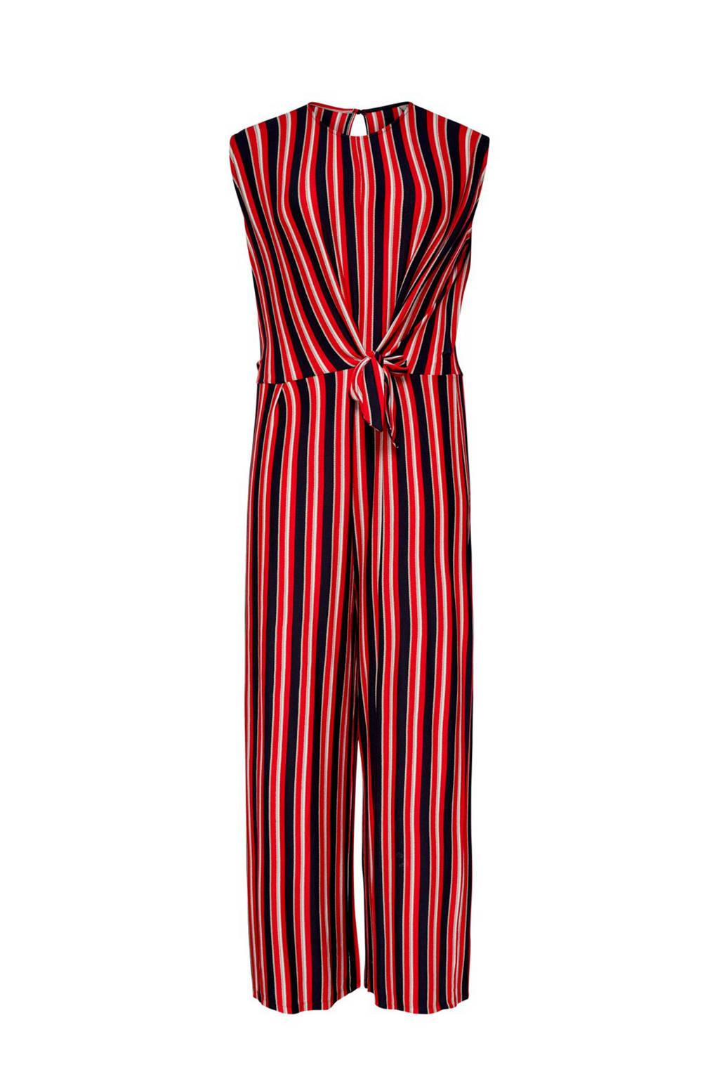 ONLY carmakoma gestreepte jumpsuit rood, Rood/zwart/wit