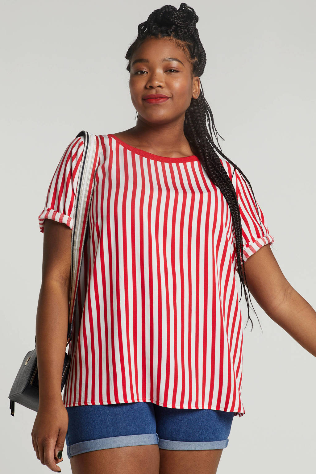 ONLY carmakoma gestreepte top met glitter details, Rood/wit