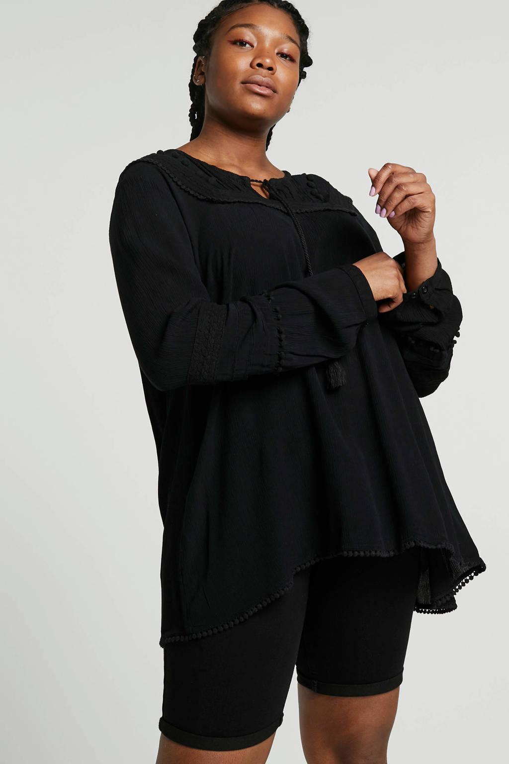 ONLY carmakoma jeansshort zwart push-up, Zwart