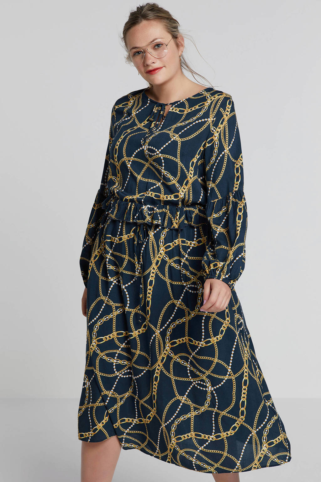 ONLY carmakoma jurk met all over print, Donkergroen/geel/oranje/wit