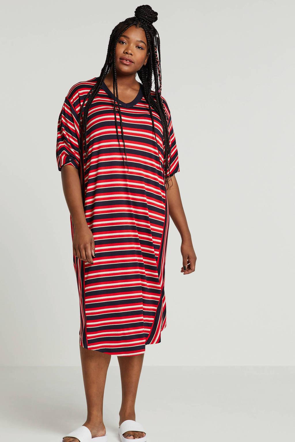 ONLY carmakoma gestreepte jurk, Rood/donkerblauw