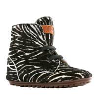 Shoesme   leren babyschoenen met zebraprint, Zwart/wit