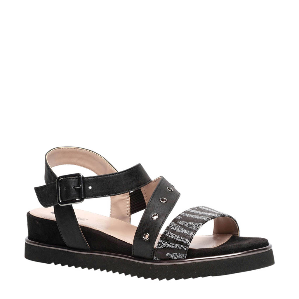 Scapino Nova sandalen zwart, Zwart/grijs