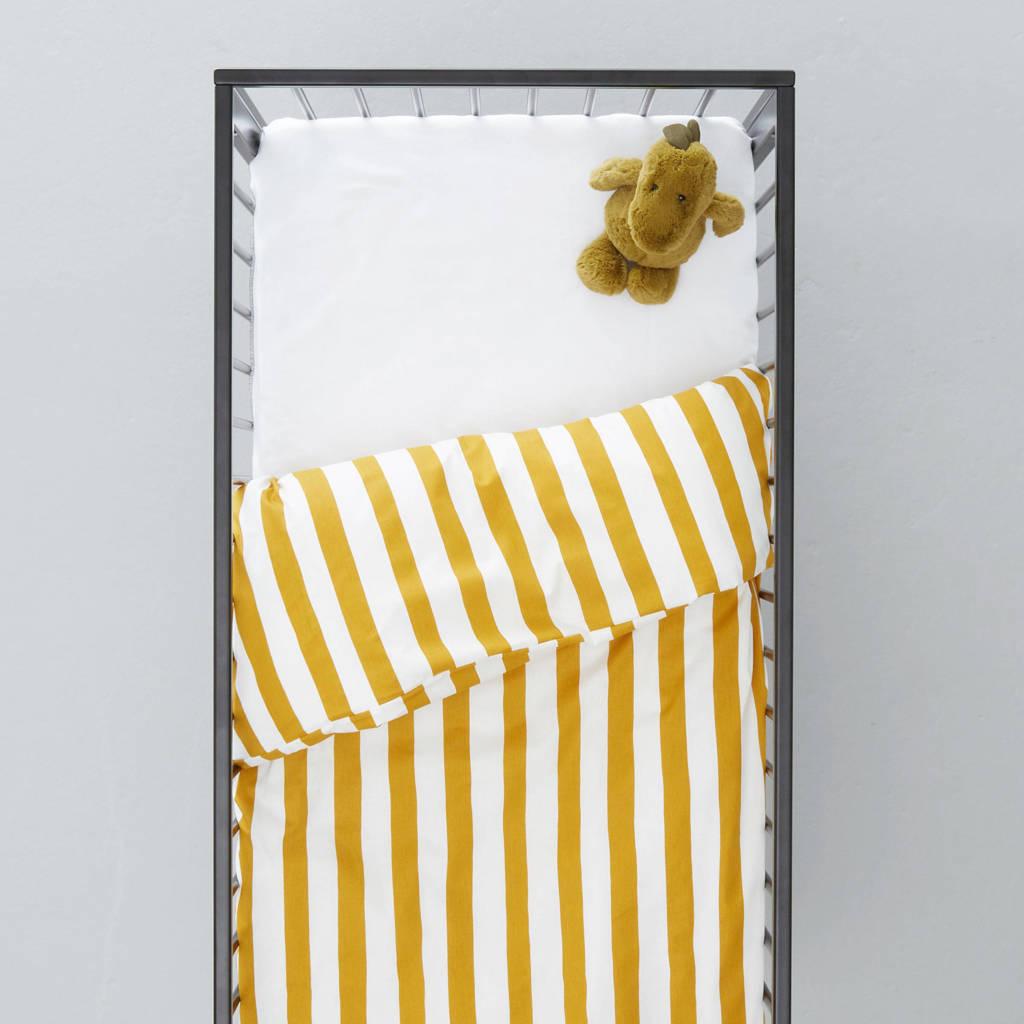 wehkamp home ledikant dekbedovertrek, Oker/wit, Baby (100 cm breed)