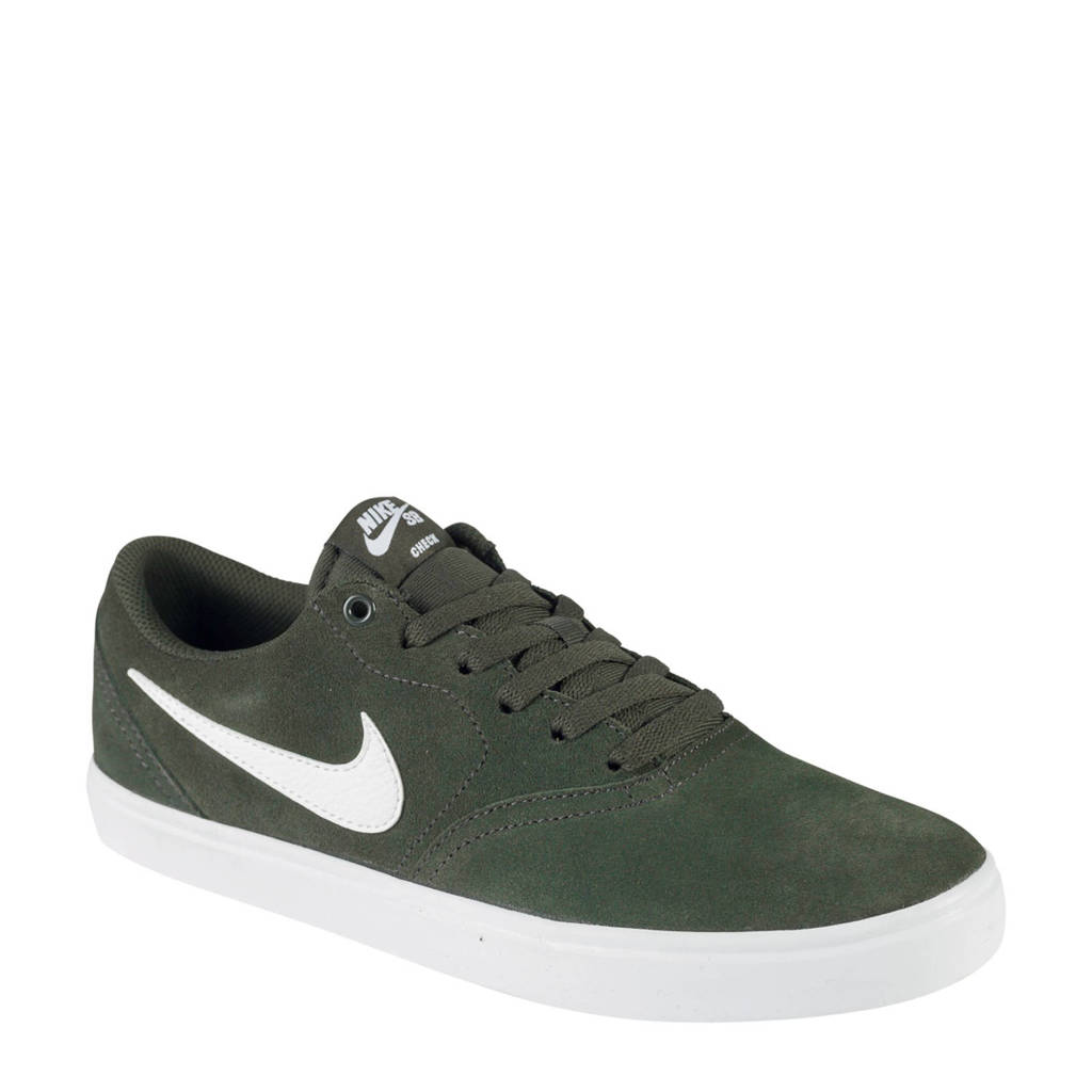 Nike SB Check Solar suède sneakers zwart/wit, dunkelgrun