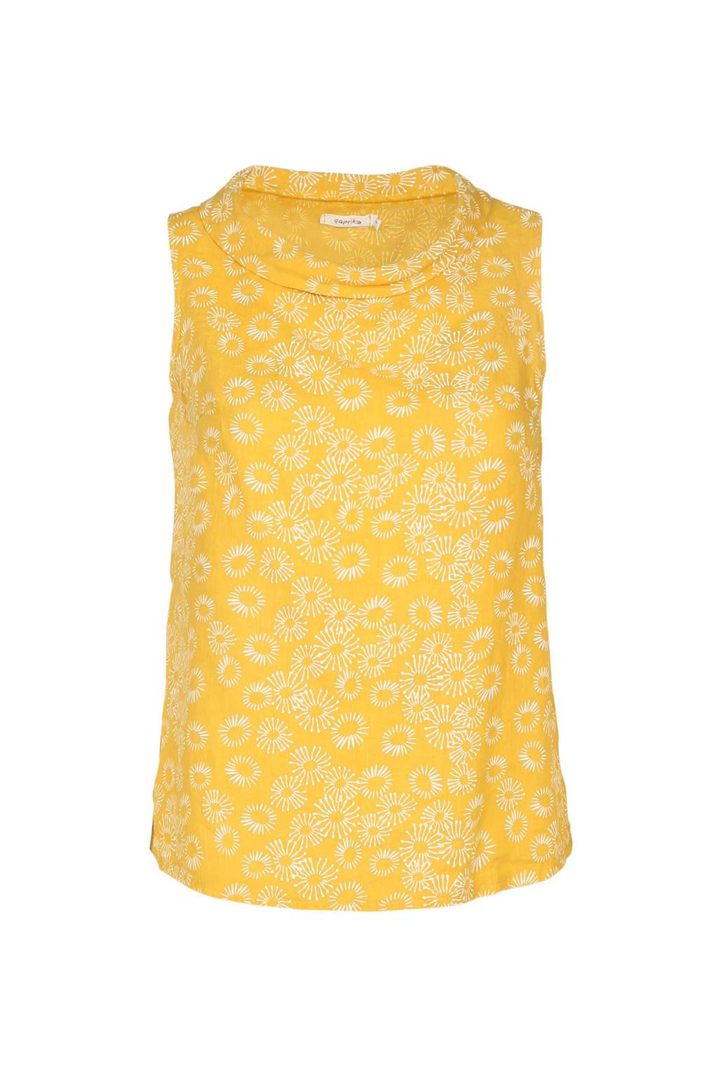 Paprika linnen top met all over print geel, Geel