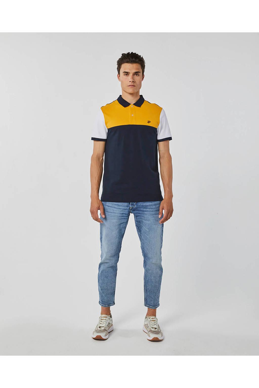 WE Fashion regular fit polo blauw/geel/wit, Blauw/geel/wit