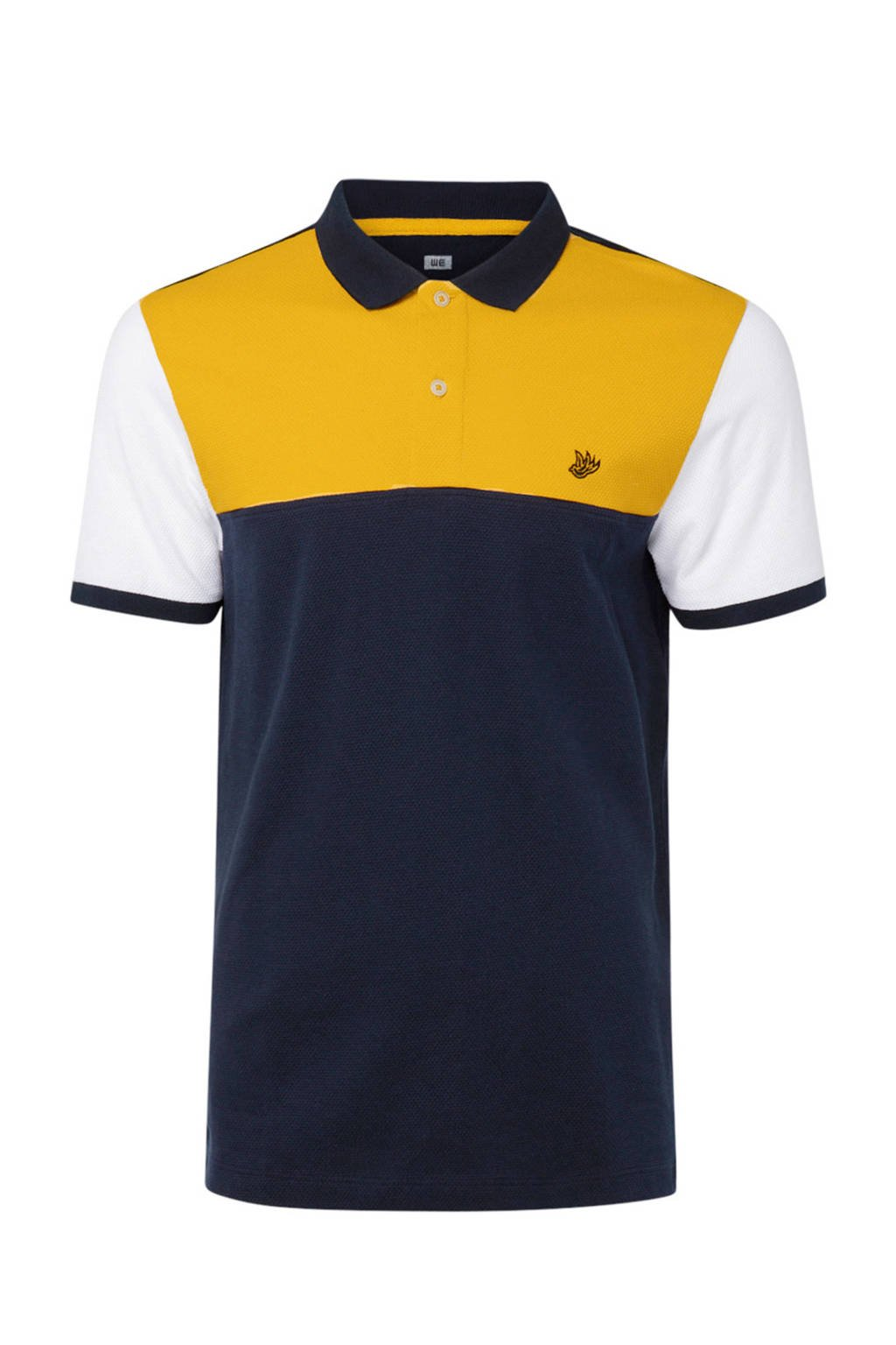 WE Fashion polo met colourblock dessin, Blauw/geel/wit