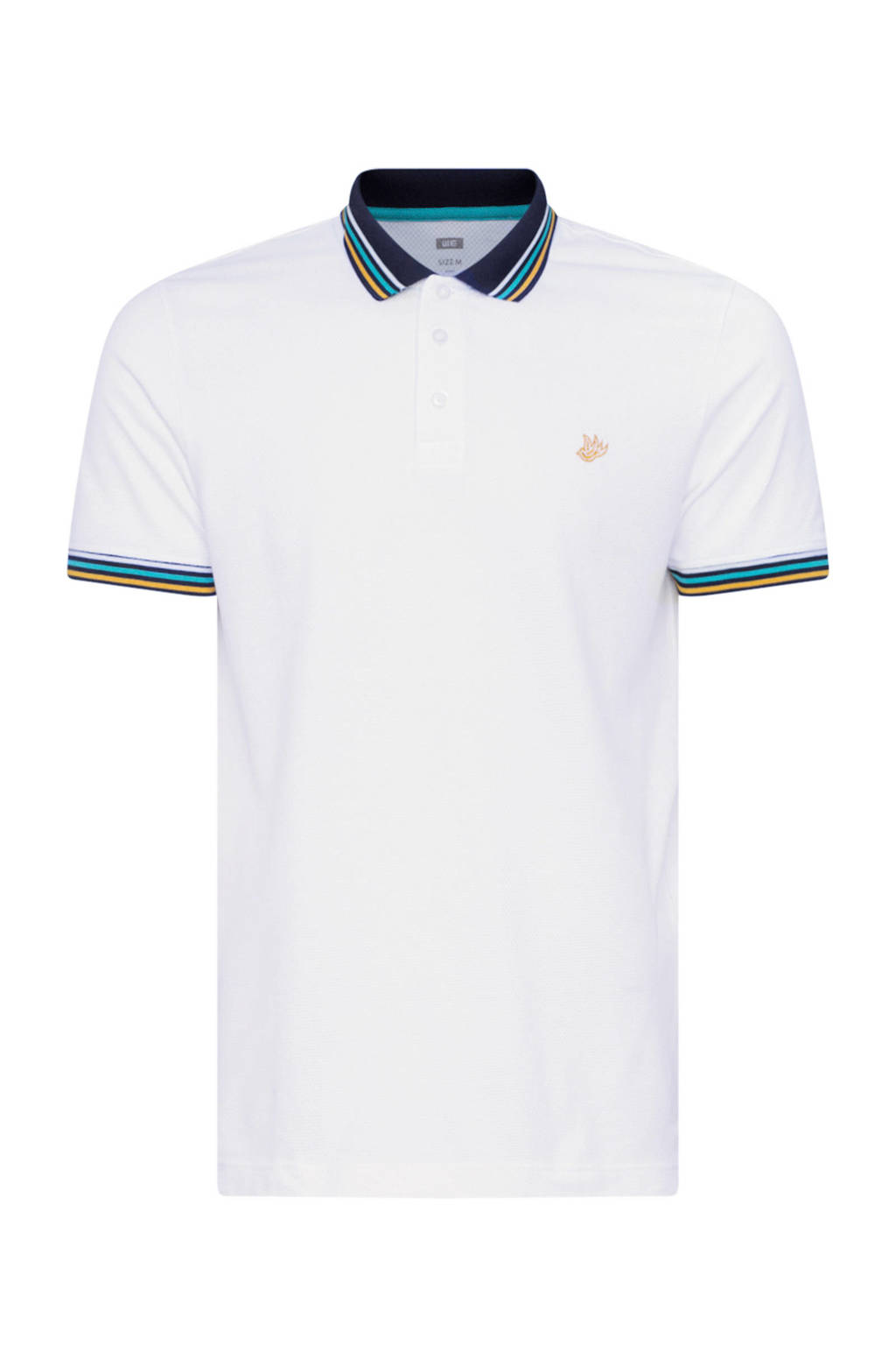 WE Fashion polo wit, Wit/marine/geel/lichtblauw